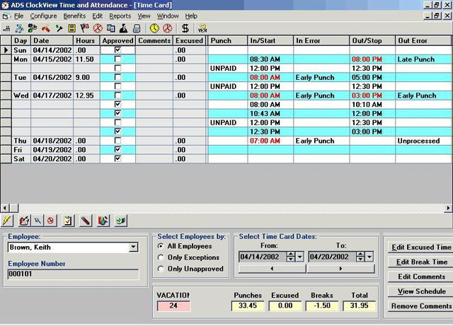 Unitech eClockView Time Tracking Software
