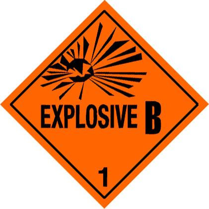 Warning Explosive 1.2B Label