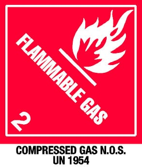 Warning Flammable Gas with Note Label