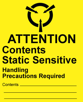 Warning Attention - Contents Static Sensitive Label