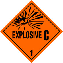 Photo of Warning Explosive 1.3C